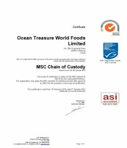 To show the MSC certification of Ocean Treasure